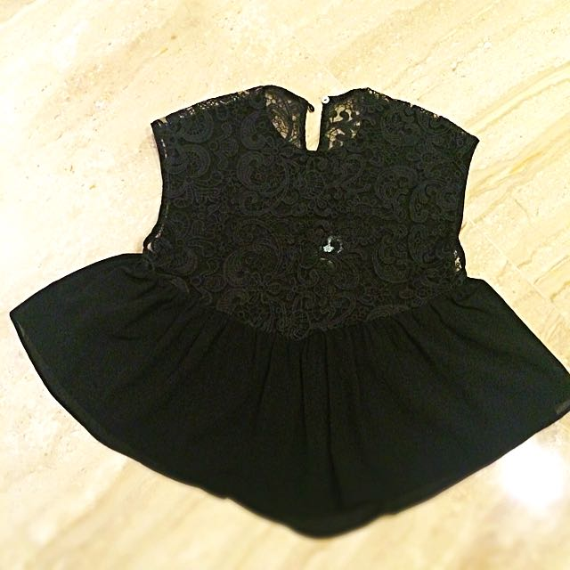 Black Brokat Top