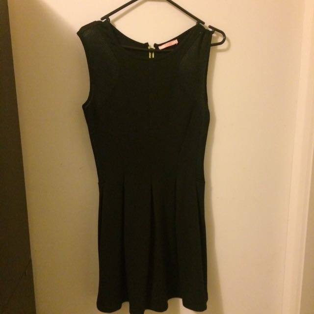 Black Neon Zip Fitted Dress