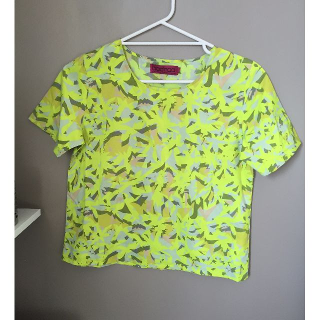 BOOHOO YELLOW PATTERN TOP