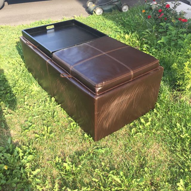 Brown Leather Coffee Table/storage