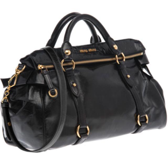 Miu Miu Bauletto Vitello Lux Nero Tu Bow Bag 4d5c536e75329