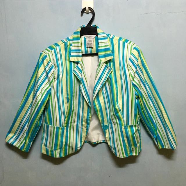 Green Stripes Blazer