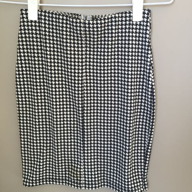 HIGH WAIST SKIRT HOUNDSTOOTH