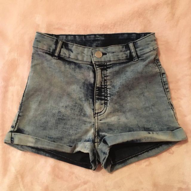 H&M Acid Wash Highwaist Shorts