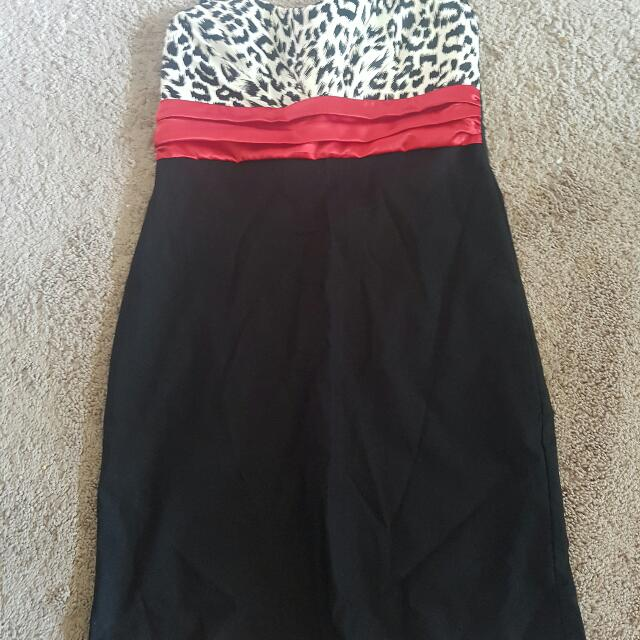 Leopard Red And Black Dress