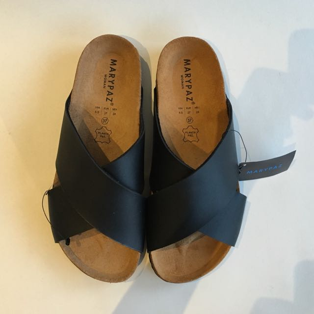 Mary Paz Leather Crossover Slides