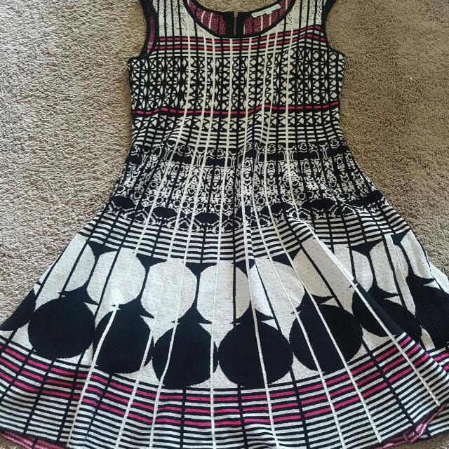 Pink And Black Pattern Dress