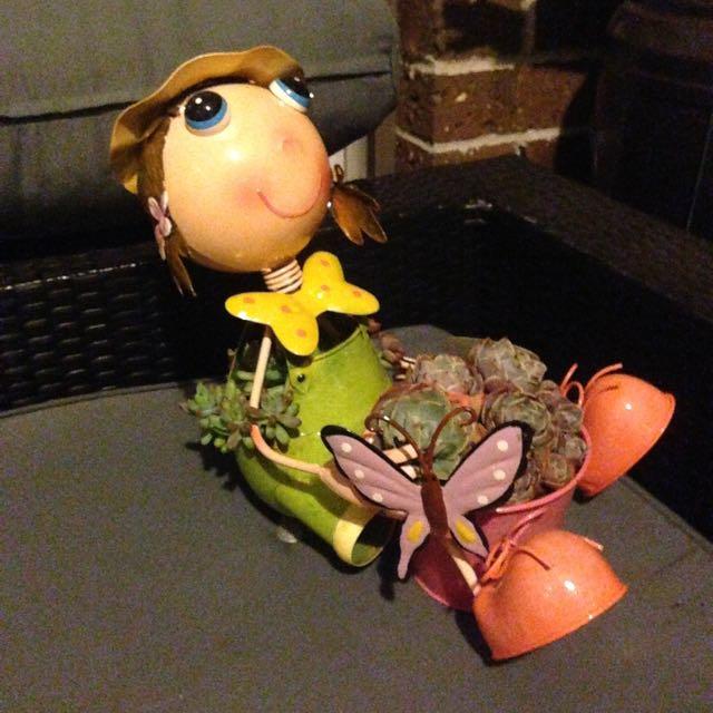 Succulents In Metal Girl Pot Plant Holder