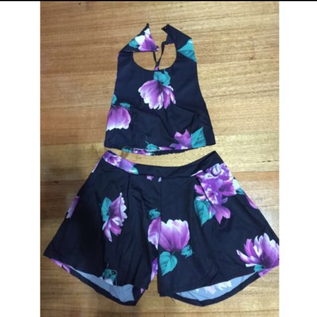 Two Piece Matching Crop Top And Shorts