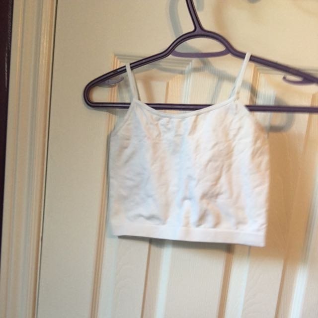 🔵 White Stretchy Crop Top
