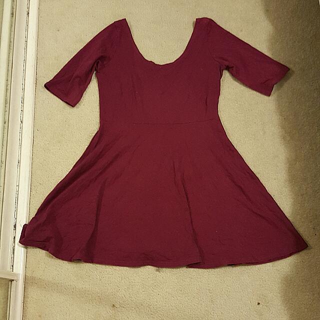 Wine Coloured 3/4 Sleeve Dress