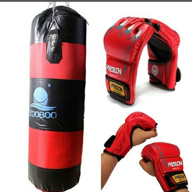 Zooboo Boxing Punching Bag With Chain Thai Karate Punch Kick Gloves Set Sports Equipment On Carou