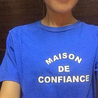 韓國網拍 字母上衣 藍色 版型略鬆