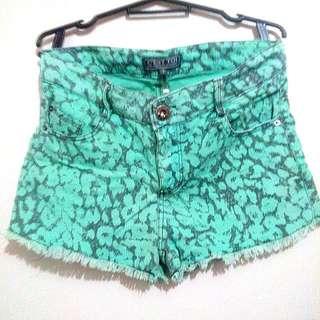 Green Printed Shorts