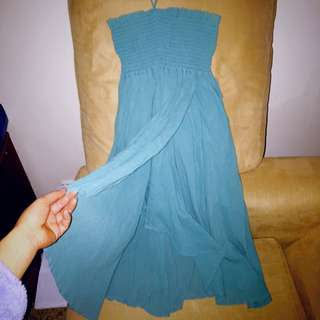 French Connection Tie Neck Flowy Green Dress
