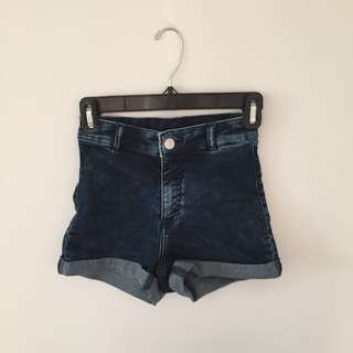 high waisted denim shorts - stretch