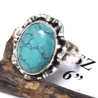 Turquoise Gemstone Silver Plated Ring Sz6