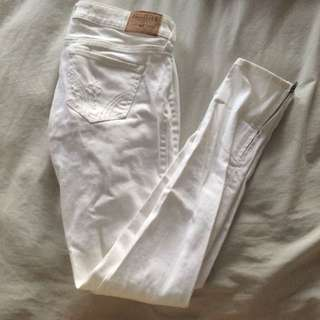 White Hollister Jeans W/ Ankle Zipper