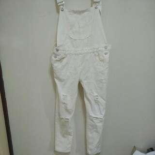 白色吊帶褲(含運)