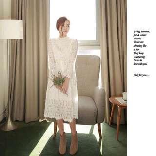 🚚 韓國新款仙女全蕾絲花邊半高領蝴蝶結收腰氣質打底洋裝