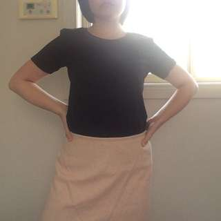 ON HOLD Authentic Wanko Pink & White Weave Skirt
