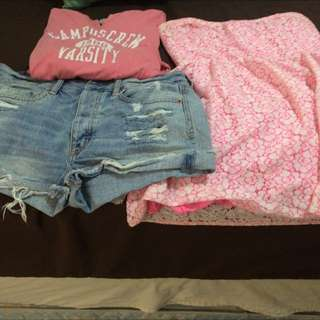 AE High Waisted Shorts, Campus Crew Long Sleeve & Aeropostale Dress