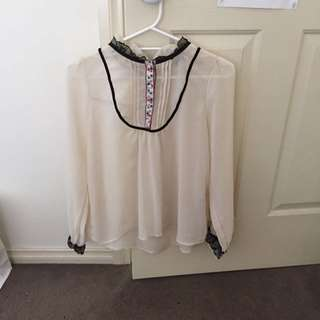 cream blouse size 8/10