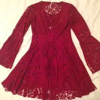 Free People Red Boho Lace Dress