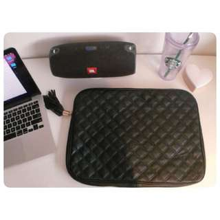 Sportsgirl Black Leather Laptop Case