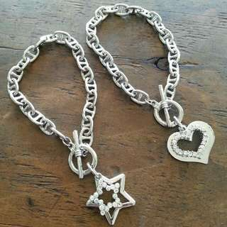 Silver star and heart bracelets jewellery