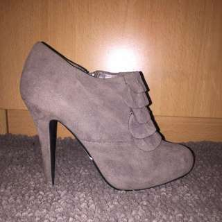 Taupe Heeled Booties | Size 5