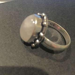 Rainbow Moonstone Silver Overlay Ring, Sz7