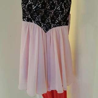 Size 10 Dotti Sweetheart Neckline Soft Pink Strapless Dress Black Lace