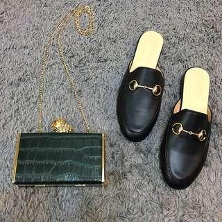韓國訂製 馬銜釦 皮鞋 拖鞋 皮拖鞋 Gucci款