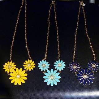 韓貨 三朵花項鏈 黃、綠、藍