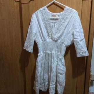 *全新含運*顯瘦白色蕾絲縮腰洋裝