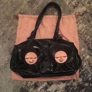 Black Patent Rose Gold Mimco Handbag With Dust Bag