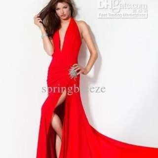 Long V-neck Formal Dress