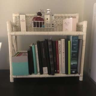 Antique White Wicker Bookshelf