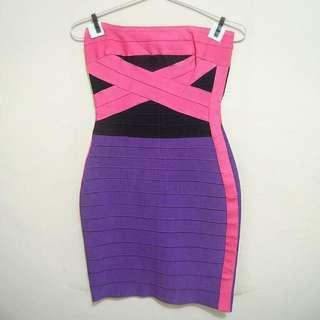 Herve Leger Pink Purple Dress