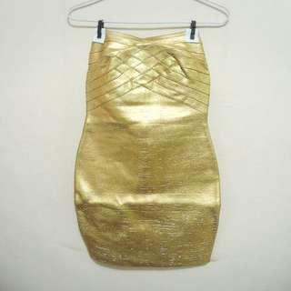 Herve Leger Tube Gold Dress