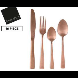 Cooper & Co. homewares 16-Piece Cutlery Set Copper