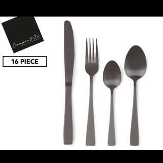 Cooper & Co. homewares 16-Piece Cutlery Set Black