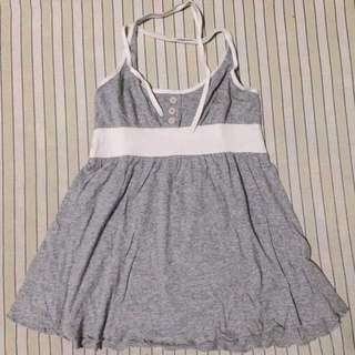 Gray And White Backless Top