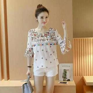 Korean Cotton Embroidered Blouse 3/4 Sleeve