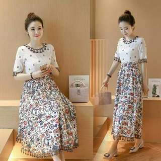 Korean Cotton Embroidered Dress 3/4 Sleeves