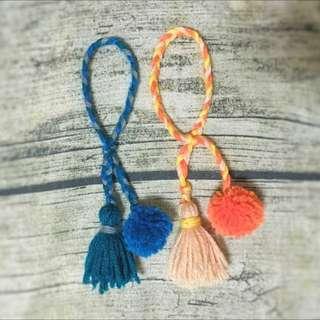 手作*民族風 毛球 流蘇 編織 手環 波希米亞 手鍊裝飾 配件 森林系