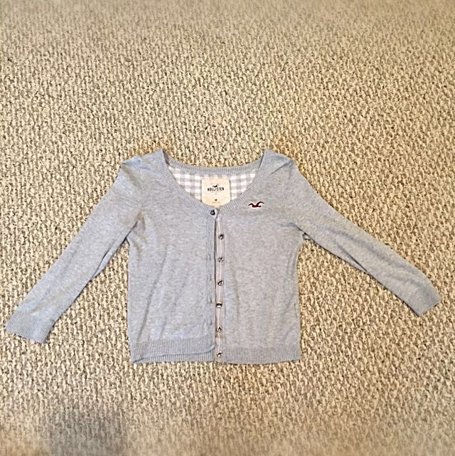 3/4 Sleeve Light Grey Hollister Cardigan