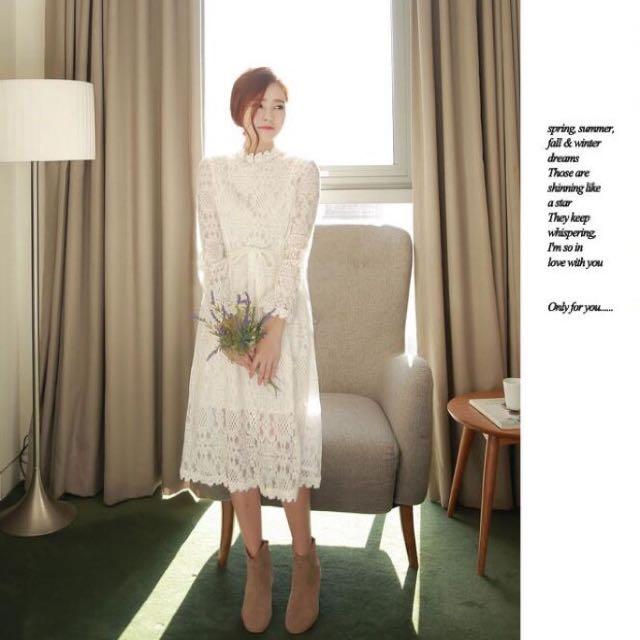 韓國新款仙女全蕾絲花邊半高領蝴蝶結收腰氣質打底洋裝