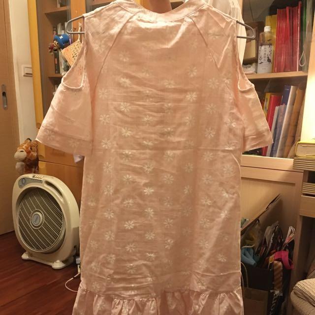 棉麻小雛菊洋裝(粉色)